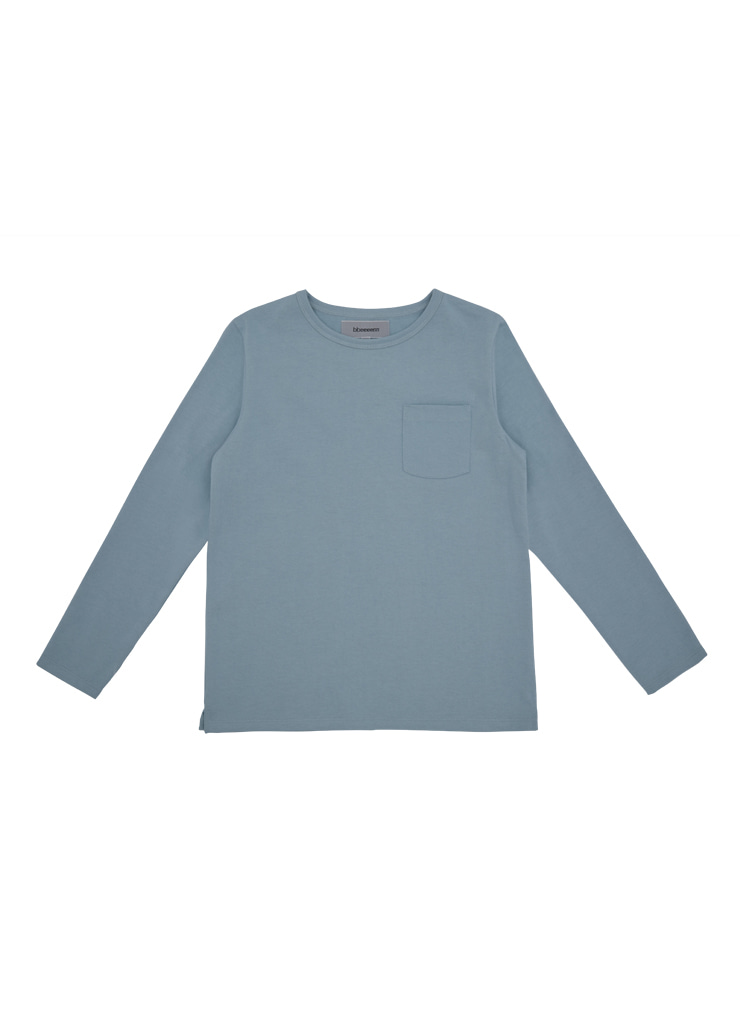 Round Neck Long Sleeve T_Blue