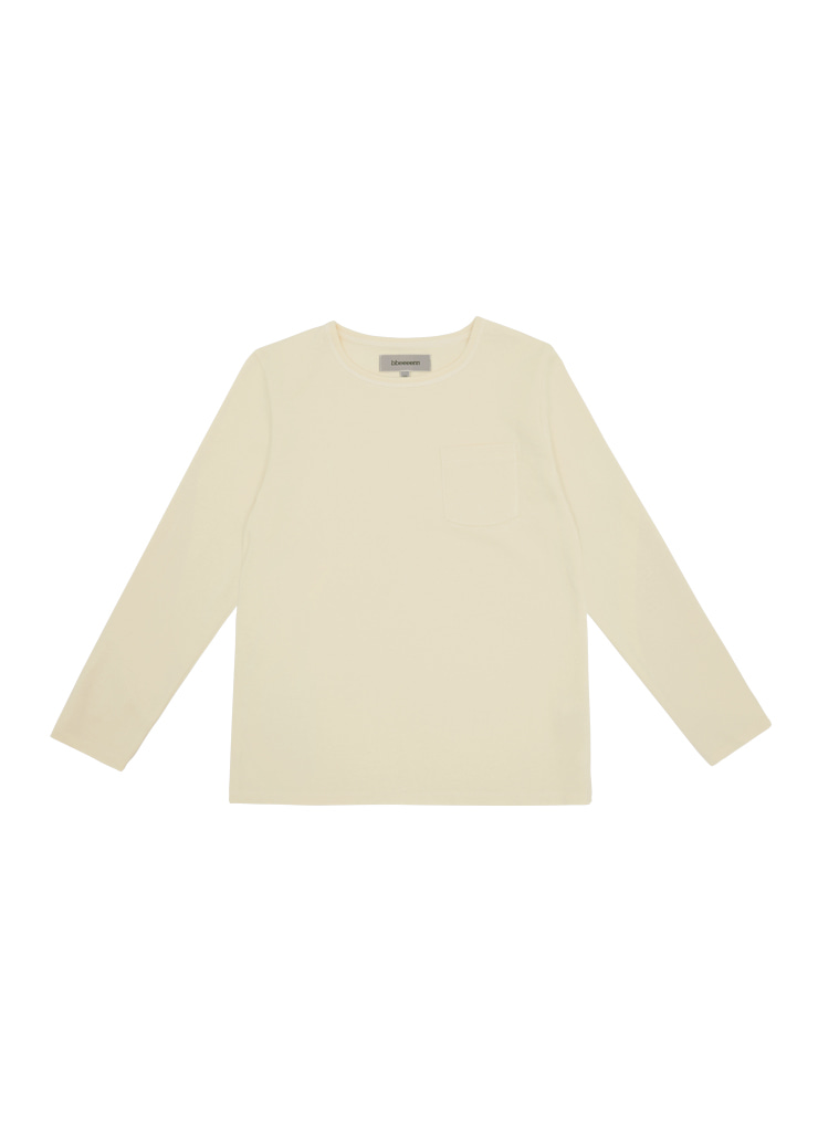 Round Neck Long Sleeve T_Cream